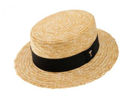 Letní slaměný boater klobouk / unisex žirarďák s černou stuhou / TONAK