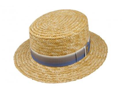 Dámský letní slaměný boater klobouk / žirarďák s duhovou stuhou / TONAK