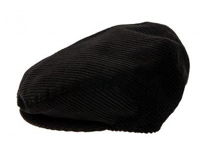 Pánská šitá Čepice s kšiltem TONAK / manšestrová kšiltovka bekovka klobouk / unisex / černá