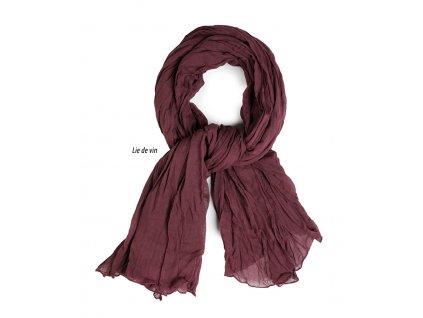 dámský, pánský šátek šála unisex děti 100% bavlna bordo lie de vin vínová