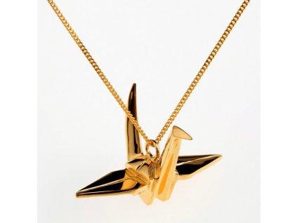 origami jewellery náhrdelník jeřáb zlatý