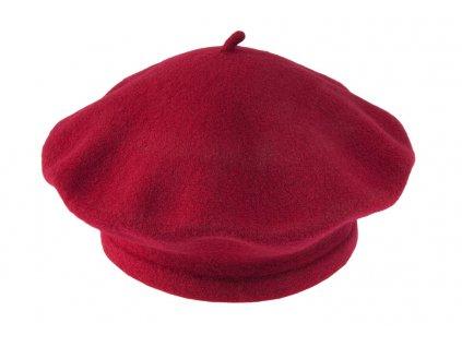 čepice baret unisex TONAK vlna červená 030002
