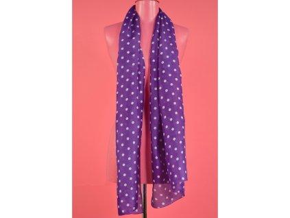 šátek šála Antoine et Lili 100% hedvábí silk puntíky fialová