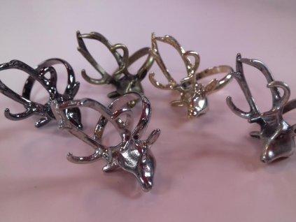 jelen prsten stříbrná zlatá patina