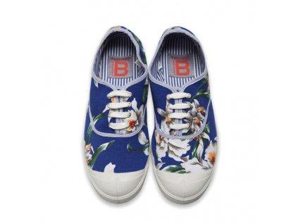 Boty obuv BENSIMON Tenisky Tennis Lacet Liberty květiny modrá