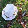Dětský klobouk TONAK / květinový věneček / bílá