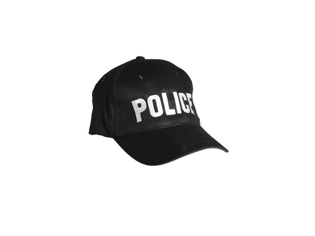 Čepice BASEBALL s nápisem 'POLICE' ČERNÁ