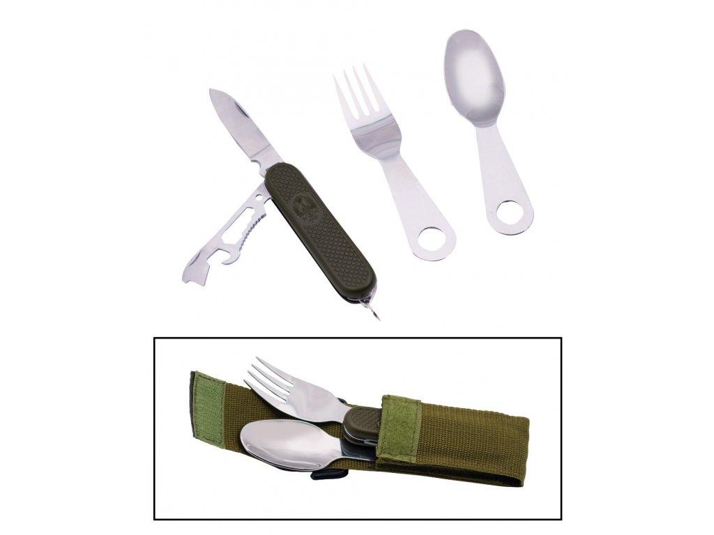 Příbor s kapesním multifunkčním nožem