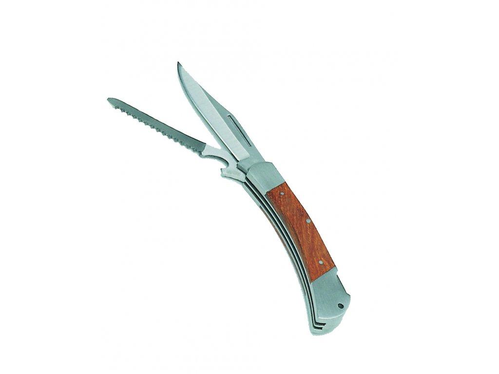Nůž zavírací LOVECKÝ s pilkou dřevěná střenka 10cm