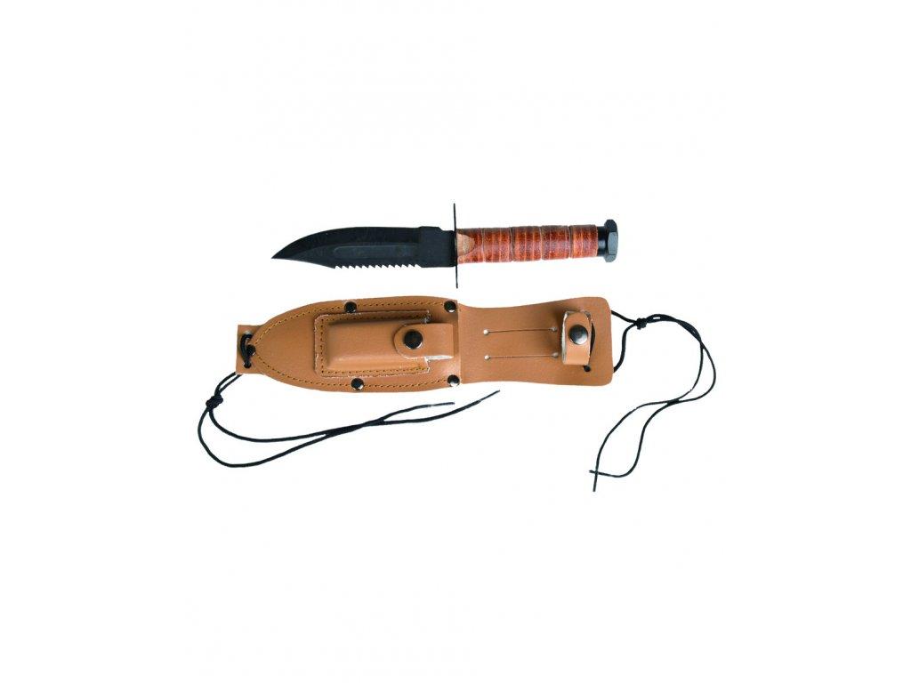 Nůž bojový US PILOTNÍ kožené pouzdro HNĚDÝ