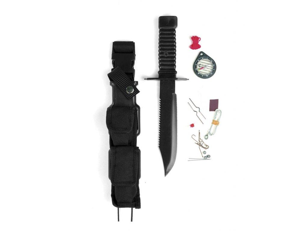 Nůž bojový 'SPECIAL FORCES' na přežití ČERNÝ