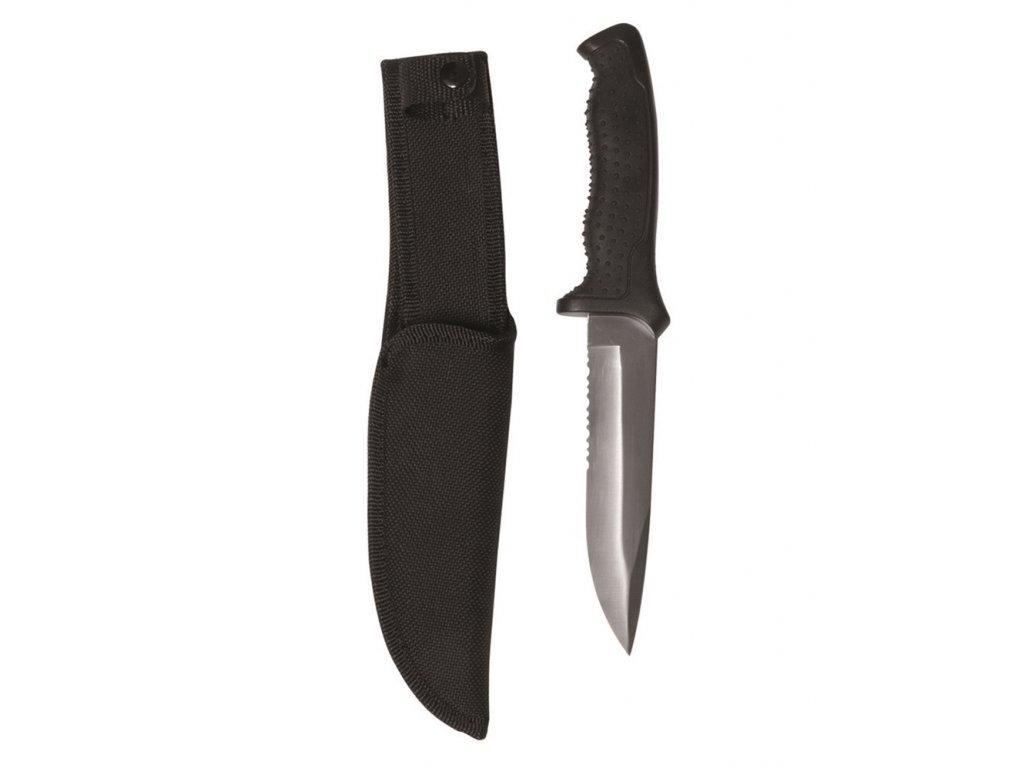 Nůž lovecký MIL-TEC gumová střenka stříbrná čepel