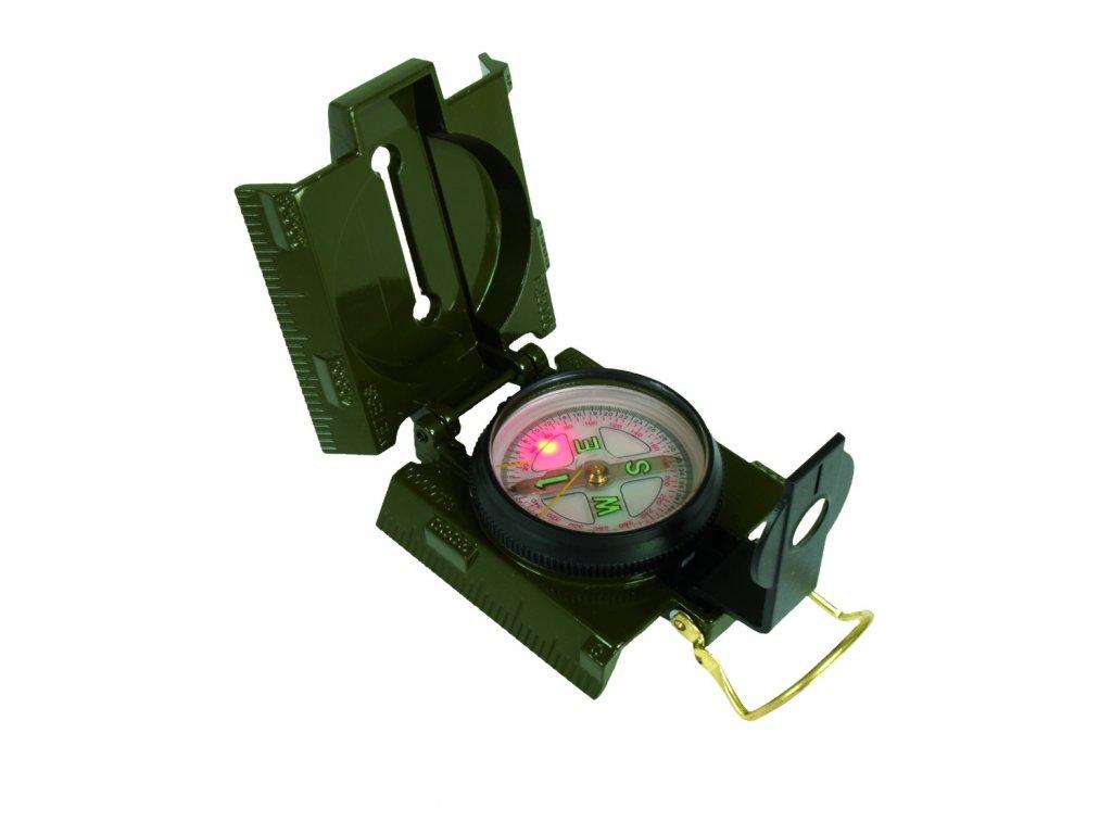 Kompas US kovové tělo a LED osvětlení ZELENÝ