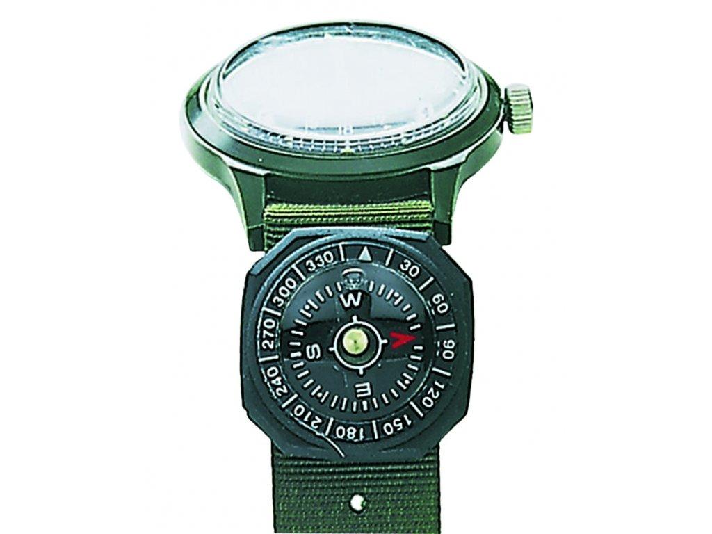 Kompas 360° na hodink. pásek pogumovaný ČERNÝ