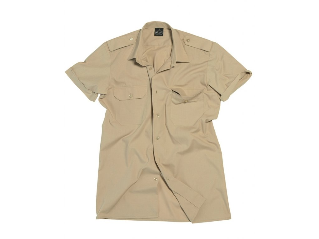 Košile SERVIS krátký rukáv na knoflíky KHAKI