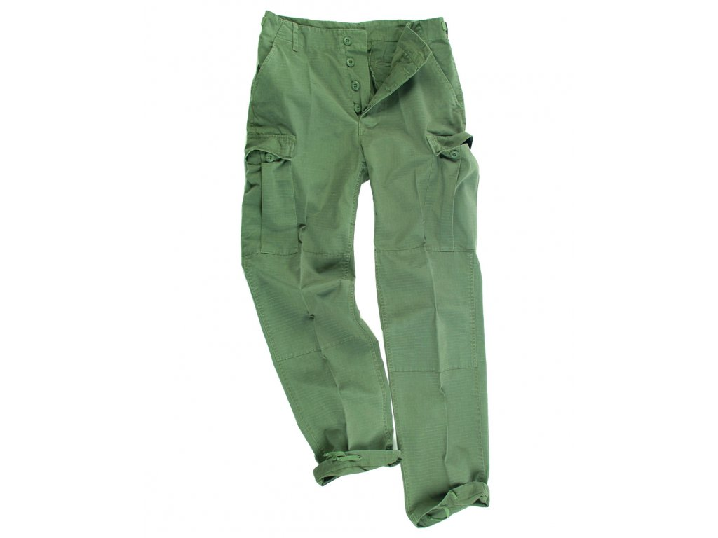 Kalhoty US BDU polní rip-stop předeprané ZELENÉ