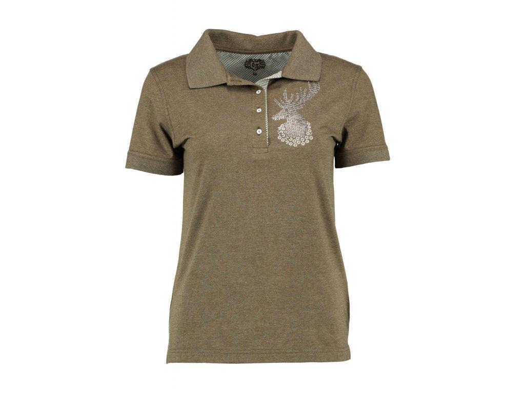 Trachten tričko dámské zelené kytička