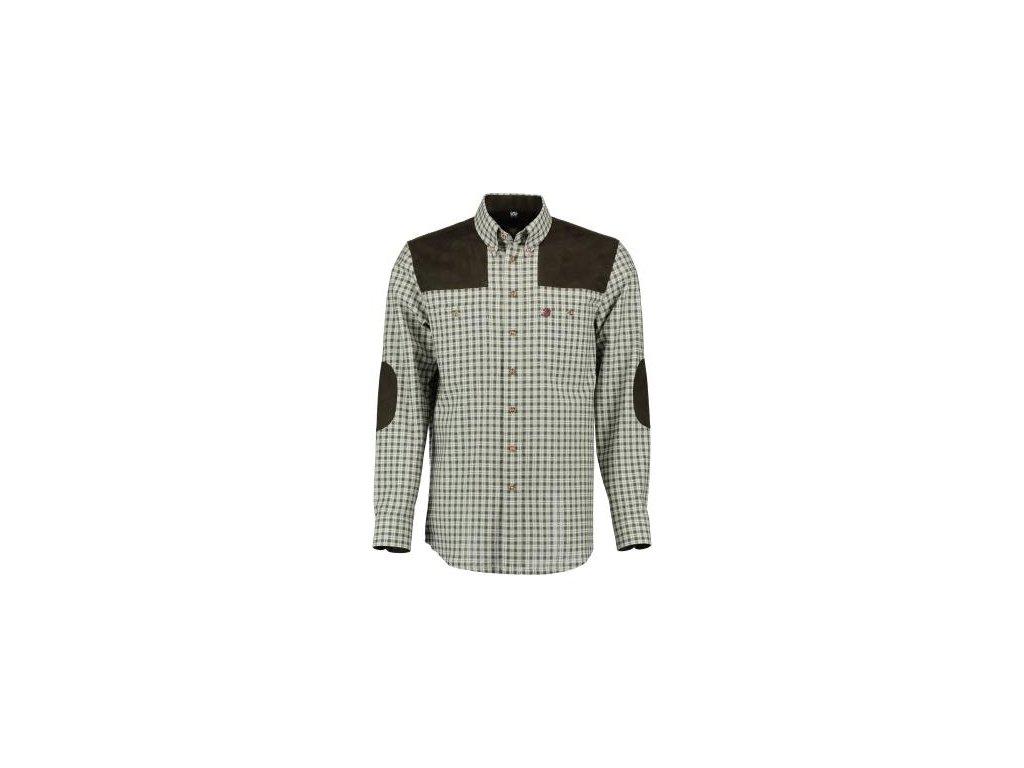 Trachten košile, dl.r. pánská, zelená, nášivky ramena loket
