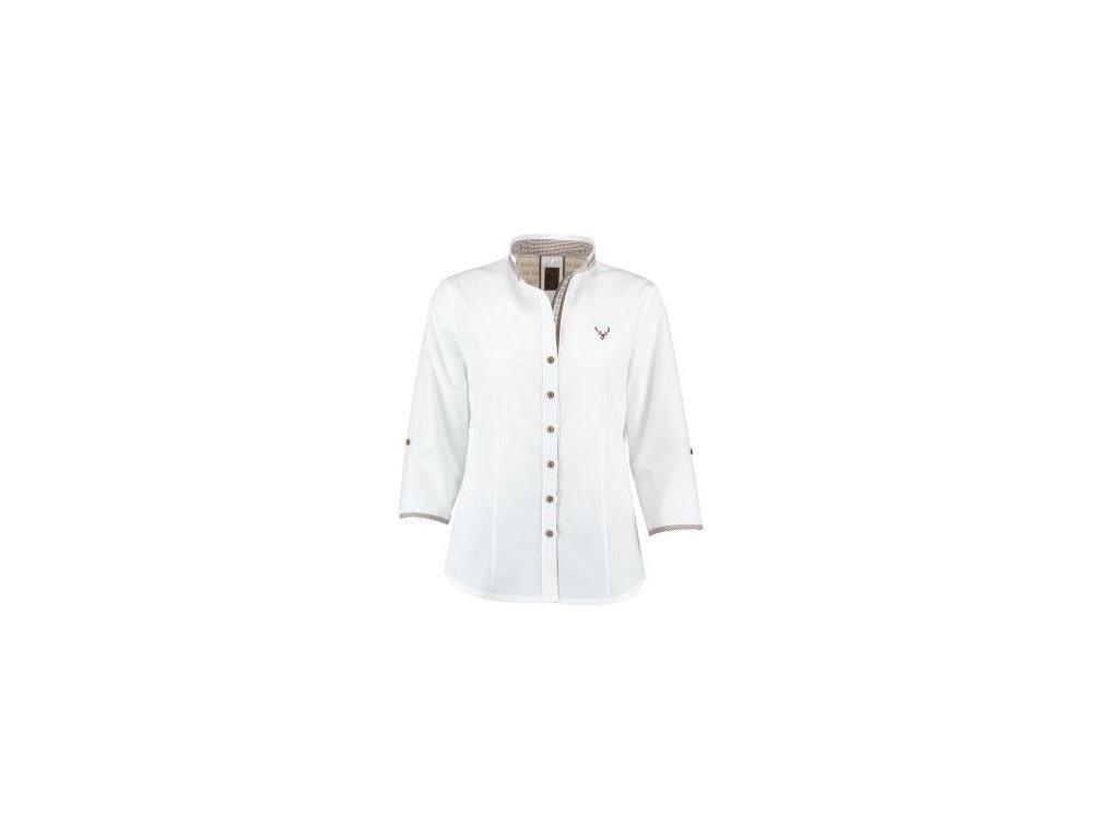 Trachten dámská košile bílá, hnědý límec