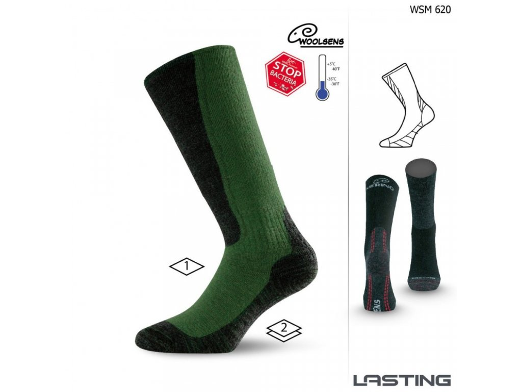 Lasting merino ponožky WSM 620 zelená
