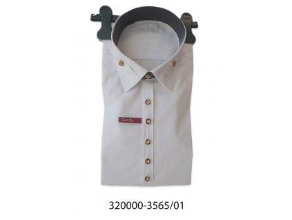 Trachten košile pánská bílá výšivka límec