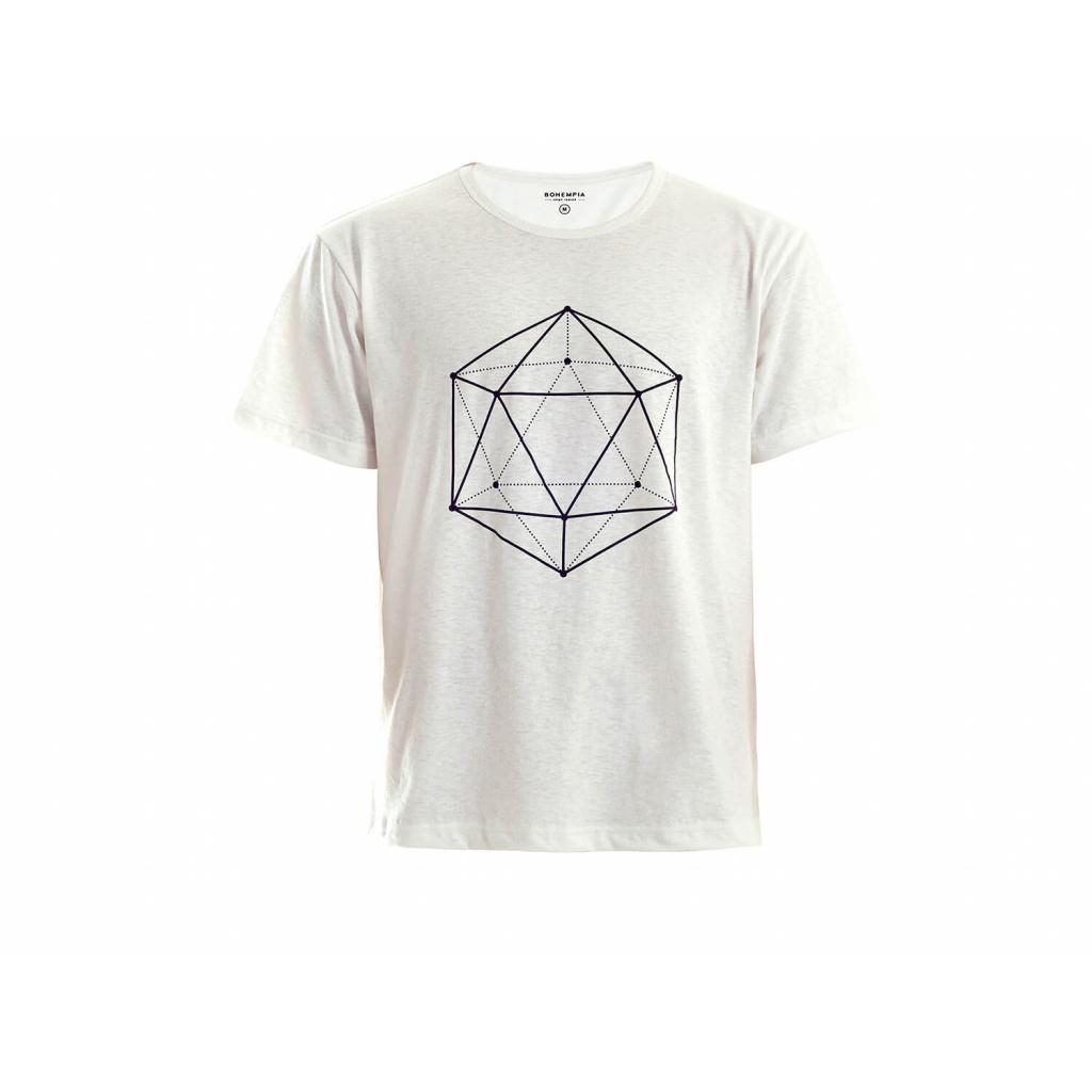 Pánské konopné tričko HIRZO White Ikosaedr