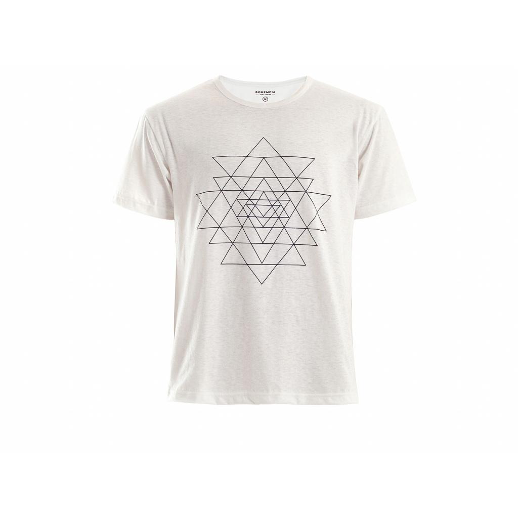 Pánské konopné tričko HIRZO White Sri Yantra