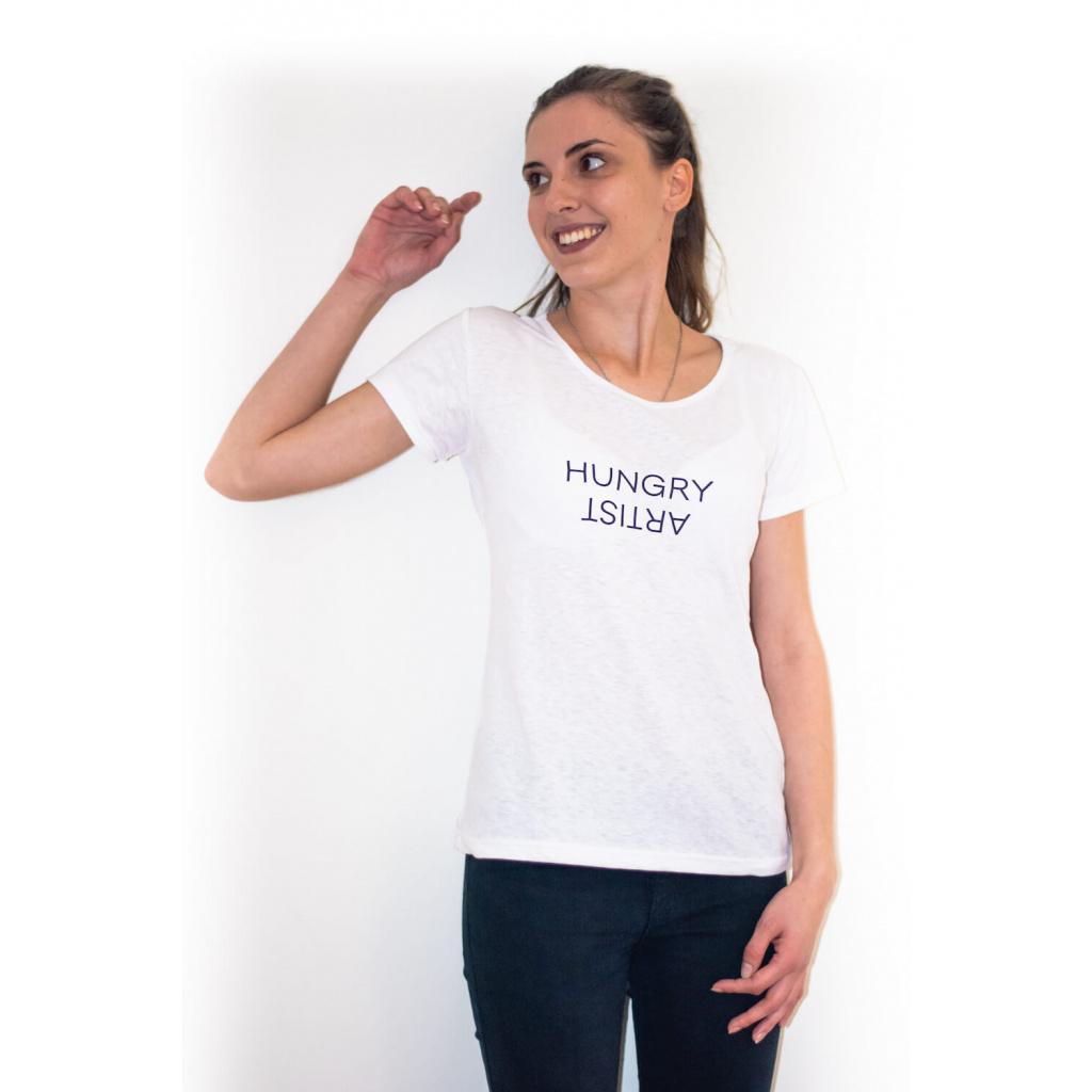 Dámské konopné tričko BINKA White HUNGRY ARTIST