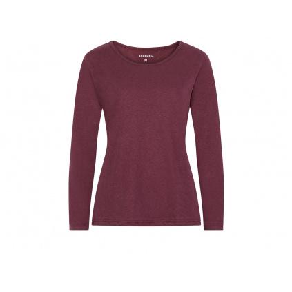 Dámské konopné tričko s dlouhým rukávem BELKA Burgundy