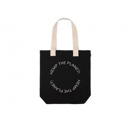 """Konopná taška BORA Black """"Hemp the planet"""""""