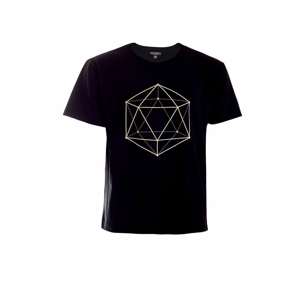 Men's Hemp T-Shirt HIRZO Black Ikosaedr