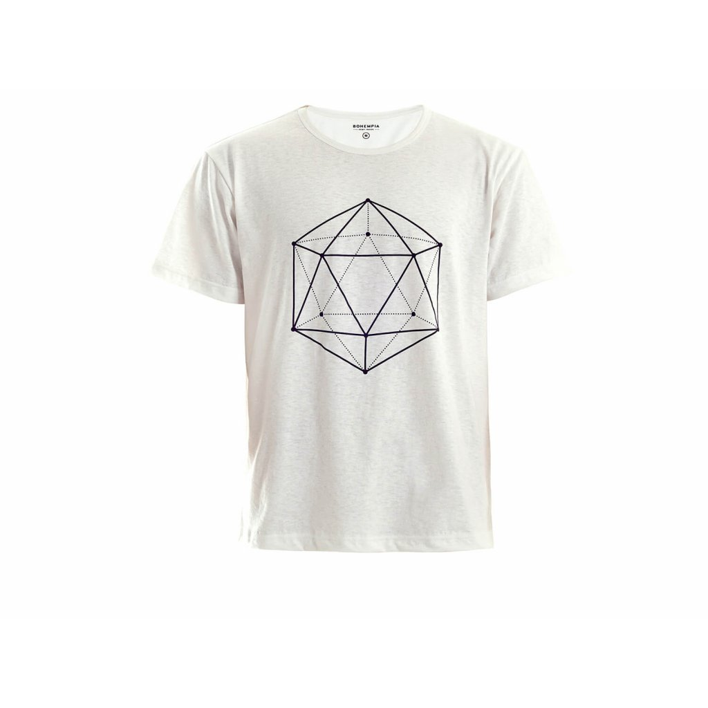 Men's Hemp T-Shirt HIRZO White Ikosaedr