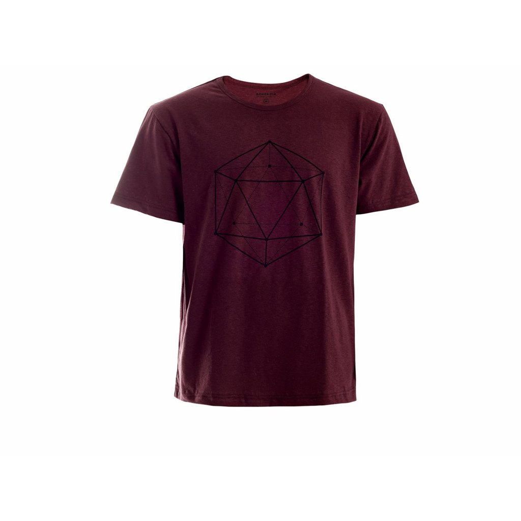 Man Hemp T-shirt HIRZO Burgundy Ikosaedr
