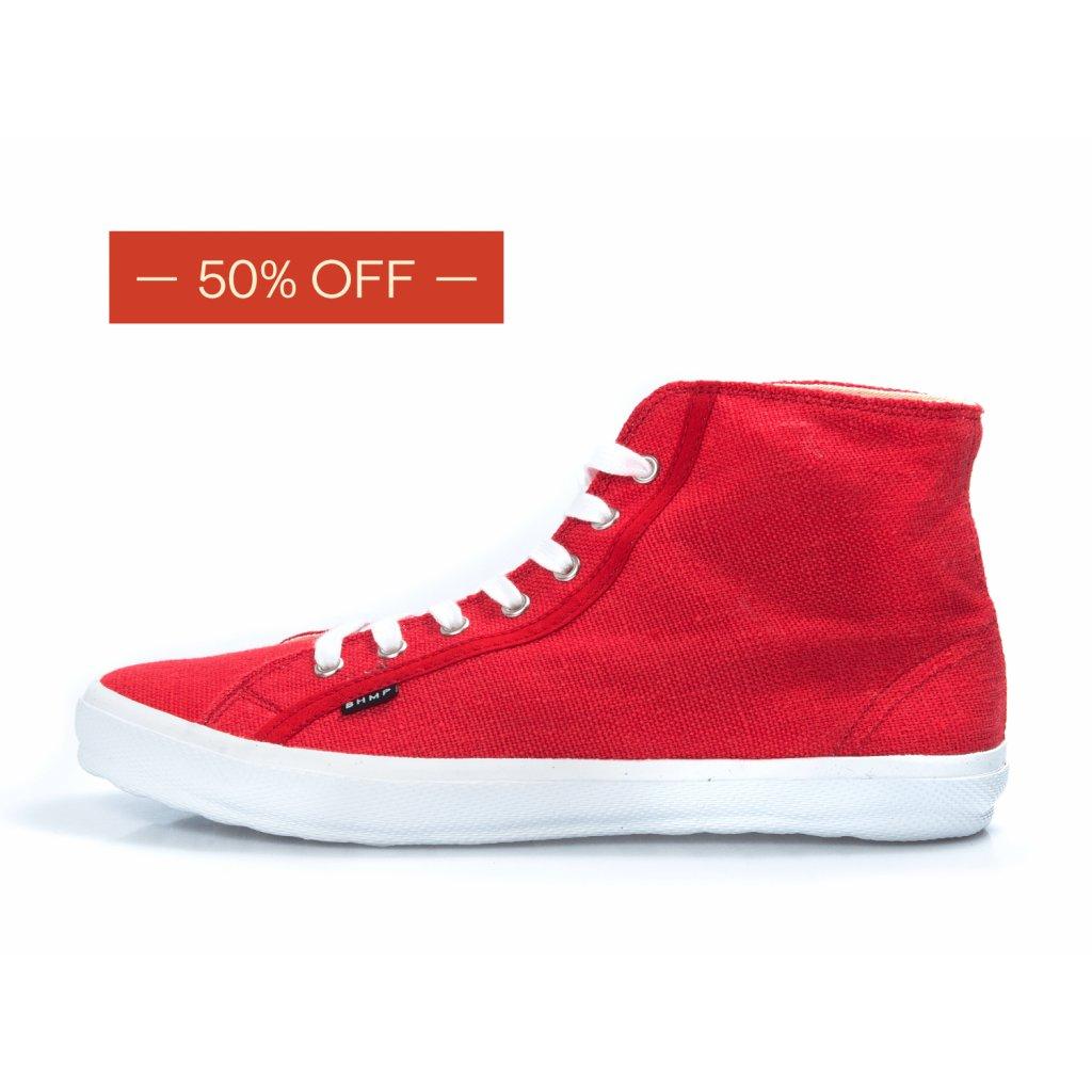 Hemp sneakers ORASA 2.0 High Top Fiery Red-White