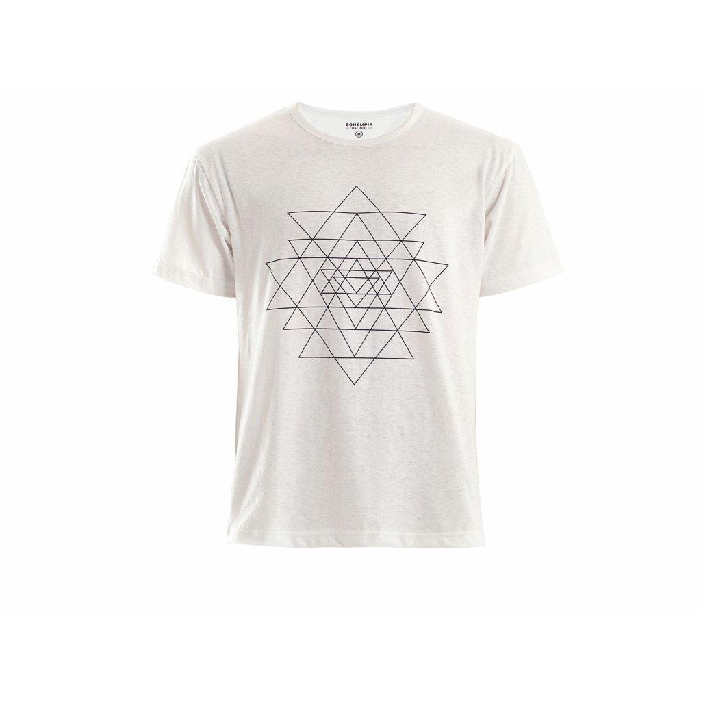 Men's Hemp T-Shirt HIRZO White Sri Yantra