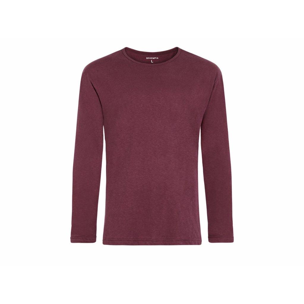 Men's Hemp Long Sleeve T-Shirt HUNEK Burgundy