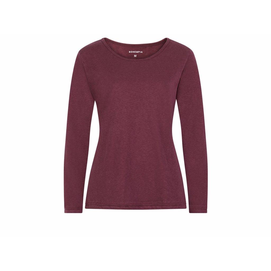 Women's Hemp Long Sleeve T-Shirt BELKA Burgundy