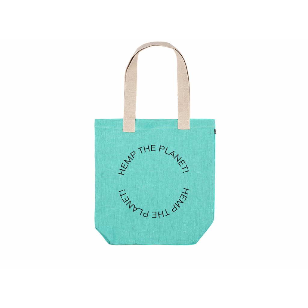 "Hemp tote bag BORA Mint ""Hemp the planet"""