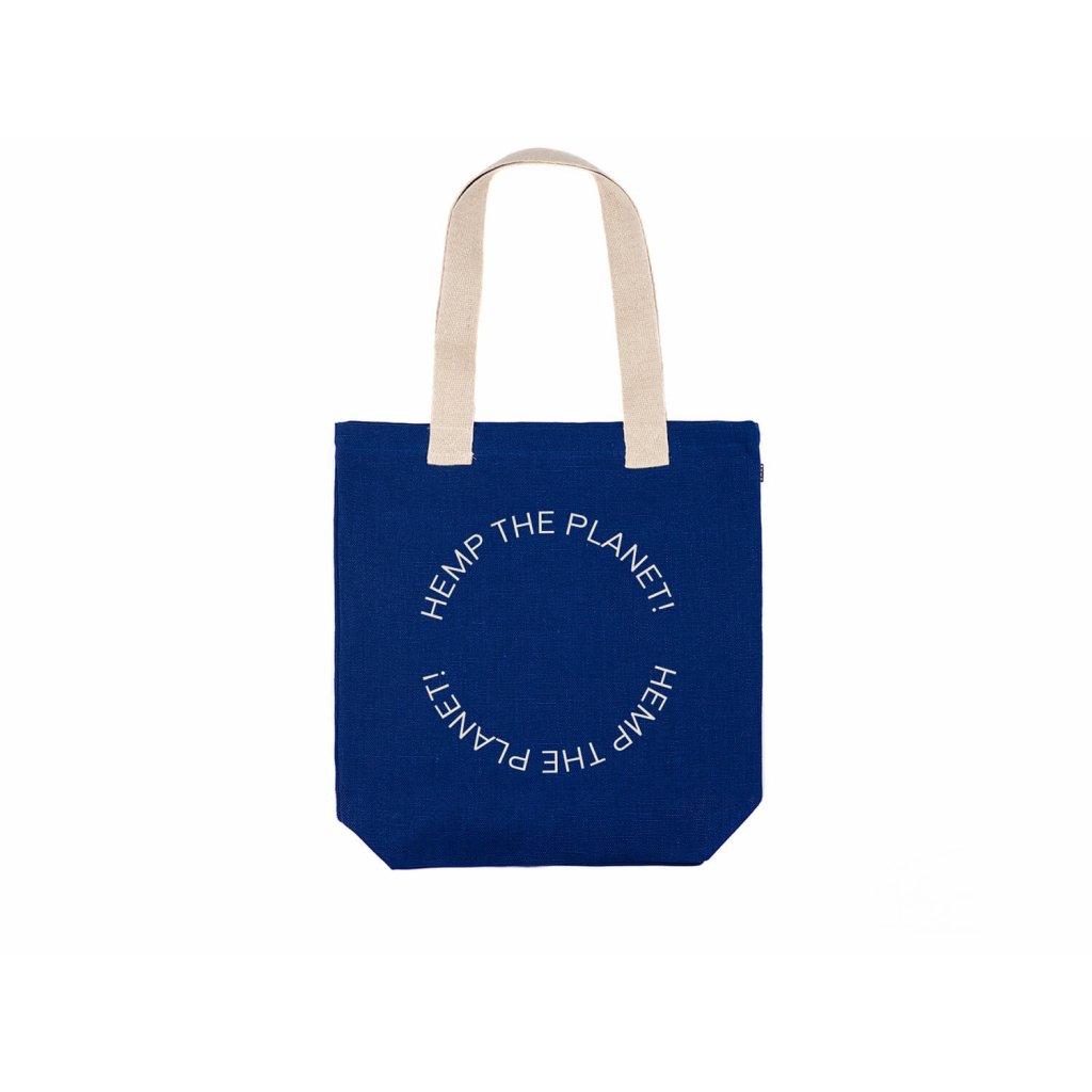 "Hemp tote bag BORA Navy Blue ""Hemp the planet"""