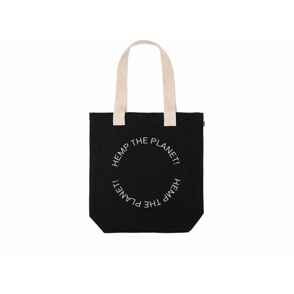 "Hemp tote bag BORA Black ""Hemp the planet"""