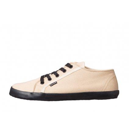 Hemp barefoot sneakers HOSKA Court Low Tan-Black