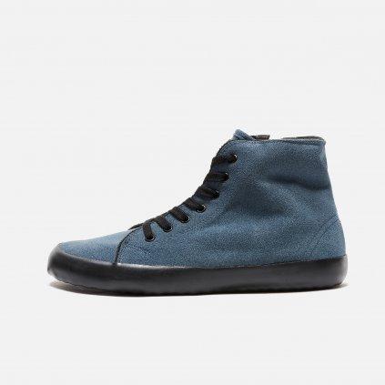Winter vegan barefoot shoes OLEN High Top Grey-Black