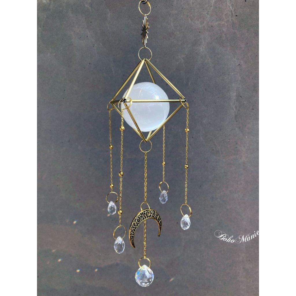 krystalový zářič selenit koule klícka SVĚTELNÝ SELENIT suncatcher