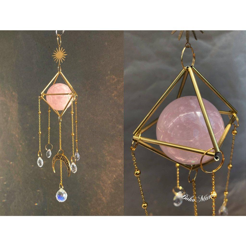 krystalový zářič selenit koule klícka SVĚTELNÝ RŮŽENÍN suncatcher