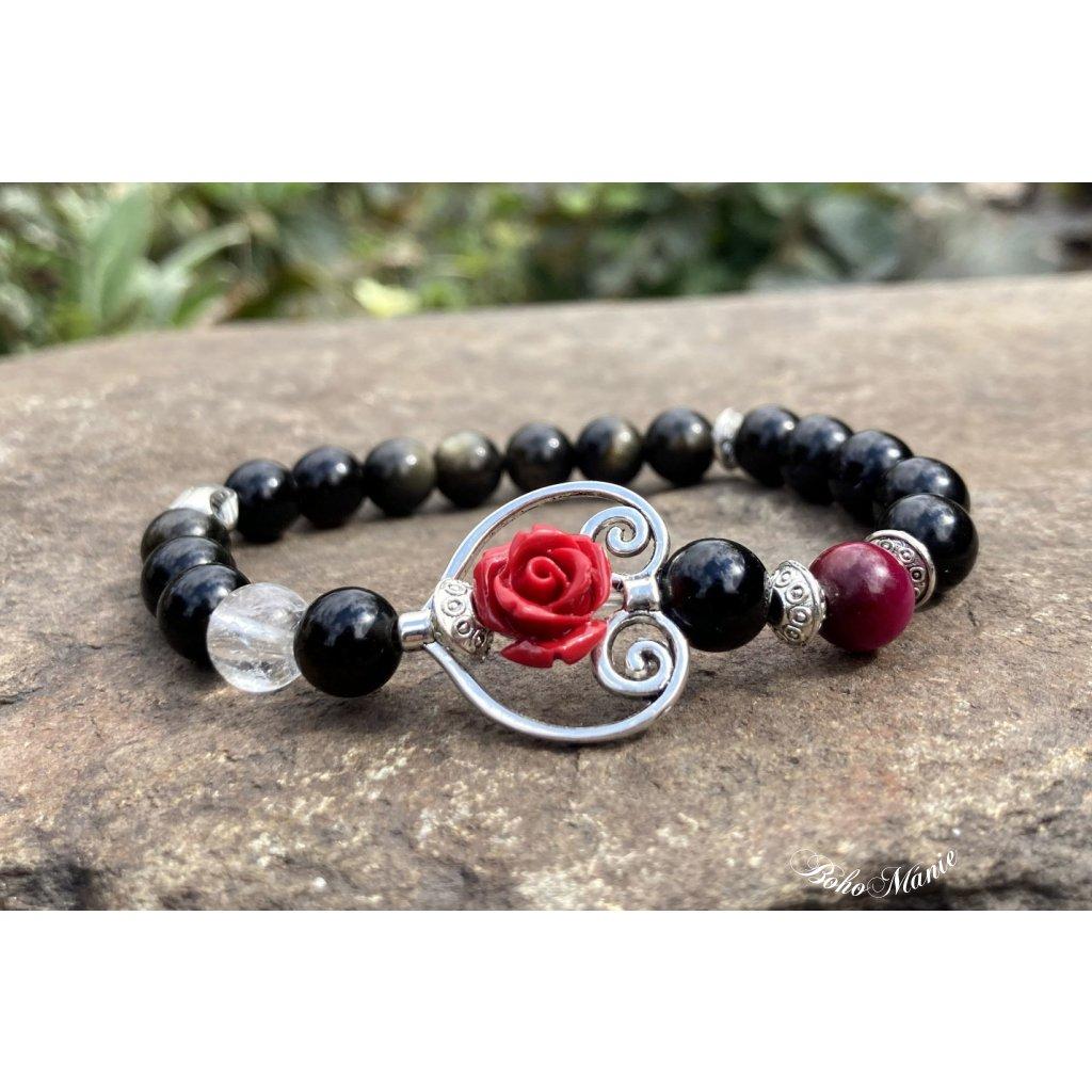 náramek z minerálů růže v srdci OBSIDIÁN KŘIŠŤÁL TYGŘÍ OKO
