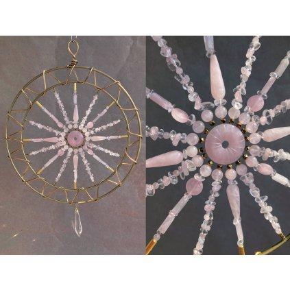 krystalový zářič mandala růženín, křišťál, hematit