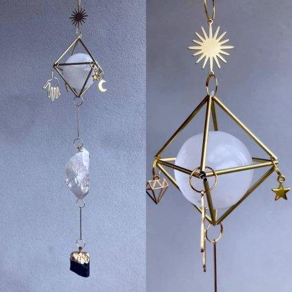 krystalový zářič suncatcher ENEERGIE DOMOVA turmalín, selenit, křišťál