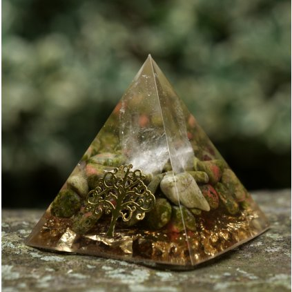 orgonit,pyramida,křišťál,jaspis,země,resin art,epoxy