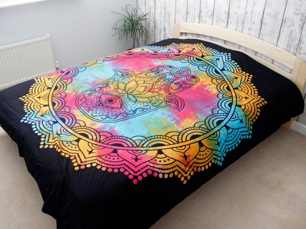 bavlnene prikryvky na postel čierna hamsa dvojlozkova3