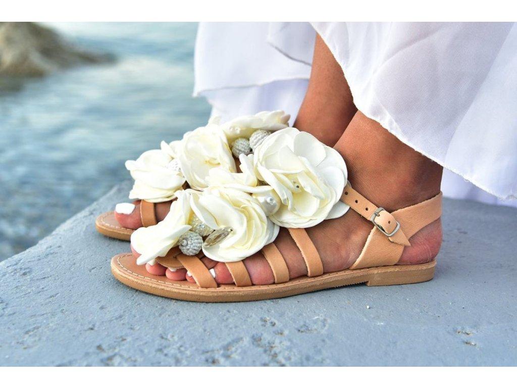 svadobne sandalky peonia white